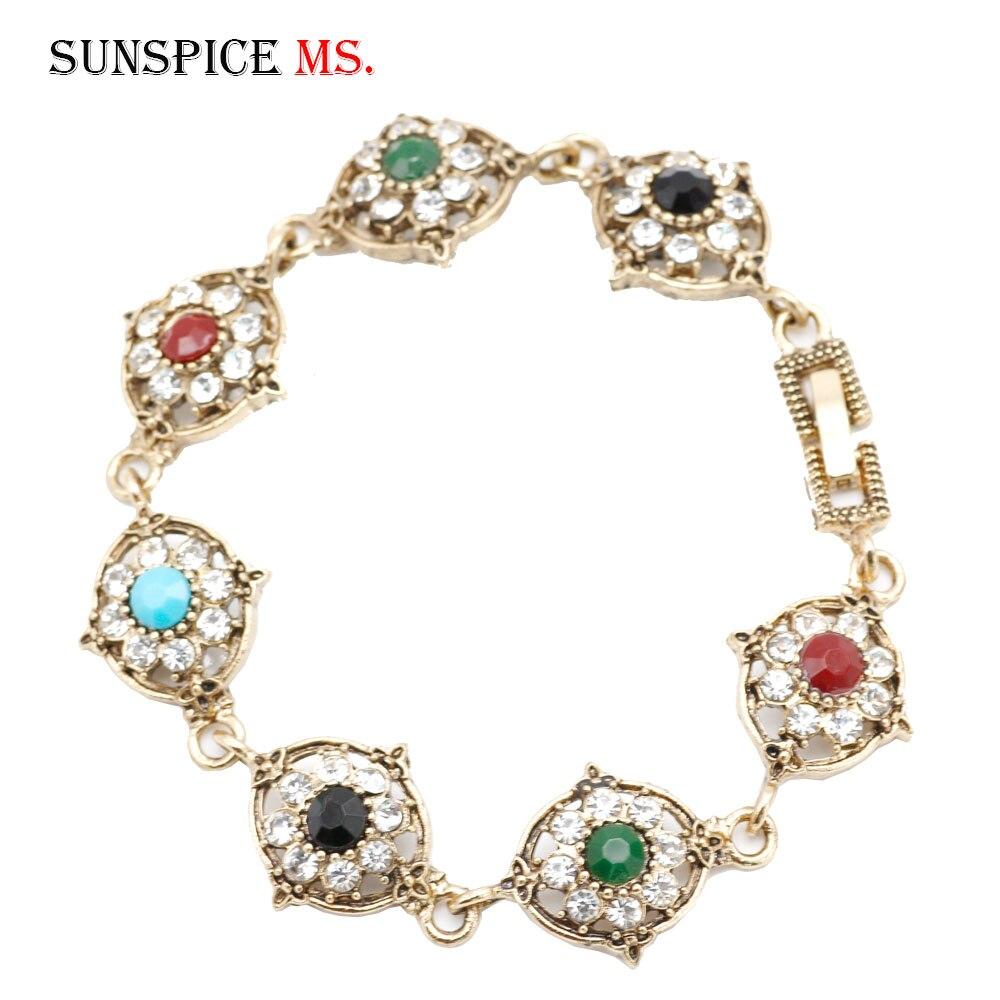 SUNSPICEMS  Indain Retro Gold Color Wedding Bracelet For Women Rhinestone Resin Wrist Chain Turkish Ladies Festival Jewelry Gift