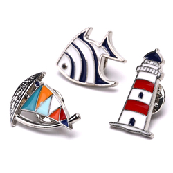New Sailboat Lighthouse Fish Brooches Man Women Sailboat Helm Enamel Lapel Pins And Brooches Jewellery Bijuteria Children Gift