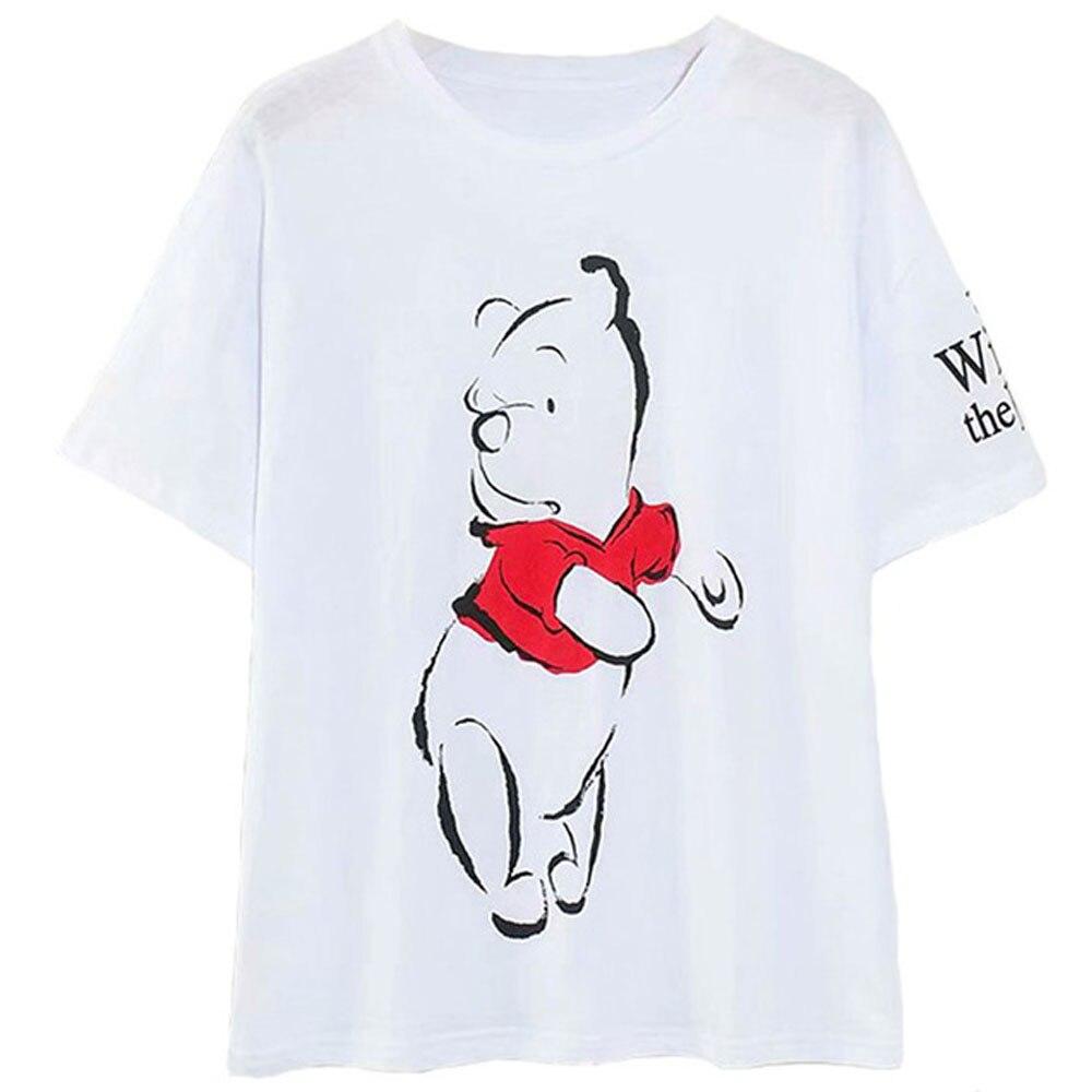 Disney Family T-Shirt Fashion Winnie the Pooh Mickey Mouse Stitch Fairy Dumbo SIMBA Cartoon Print Women T-Shirt Cotton Tee Tops 6