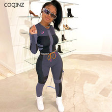 Zwei Stück Set Outfits für Frauen Kleidung Baddie Outfits Instagram 2 Peice Sets Gestapelt Leggings Crop Top Jogger Frauen Set(China)