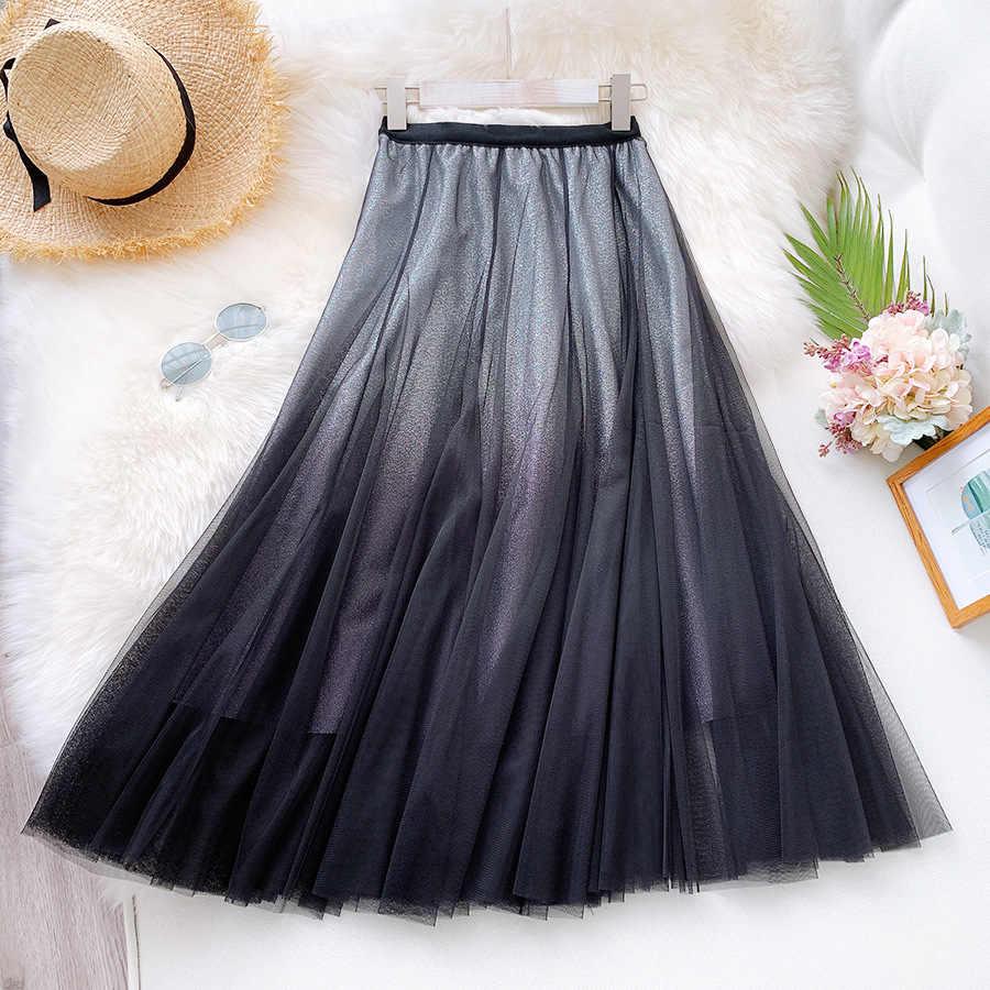 HLBCBG Maxi Tüll Rock Frauen Für 2020 Frühling Sommer Koreanischen Damen Blau Schwarz Gradienten Hohe Taille Lange Plissee Rock Weibliche