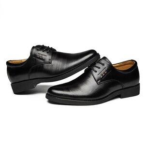 Image 4 - 2020 נעליים רשמיות גברים עגול הבוהן גברים שמלת נעלי עור גברים אוקספורד נעלי גברים אופנה שמלה הנעלה
