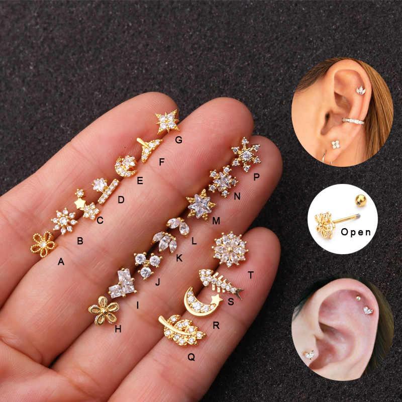 Sellsets 1Piece 20G Warna Emas dan Perak CZ Tulang Rawan Bulan Bintang Bunga Mahkota Helix Piercing Perhiasan Tragus Stud conch Anting-Anting