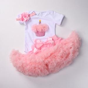 Image 2 - Del bambino delle ragazze 1st compleanno vestiti set 3 pcs Infantili primi Di Compleanno abiti Tuta top tutu pettiskirt set con la fascia