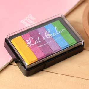 6 colors Safety Non-Toxic Ink Pad Creative Rainbow Inkpad Rubber Stamp Oil Based for Children's Finger Print DIY Art Kids Gift