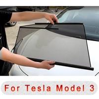 Car Side Windows Sunshade For Tesla Model 3 Automatic Lifting Telescopic Anti UV Sunscreen Insulation Mesh Curtain Cover