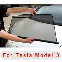 Car Side Windows Sunshade For Tesla Model 3 Automatic Lifting Telescopic Anti UV Sunscreen Insulation Mesh Curtain Cover