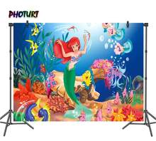 PHOTURT Mermaid Princess Photography Backdrop Baby Shower Girl Birthday Party Background Sea Doo Fish Vinyl Photo Studios Props(China)