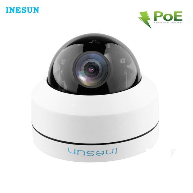 Inesun 2MP 1080P PoE IP كاميرا مراقبة للمنزل IK10 المخرب برهان IP66 مقاوم للماء 4X زووم بصري PTZ كاميرا بشكل قبة في الهواء الطلق وداخل قاعة