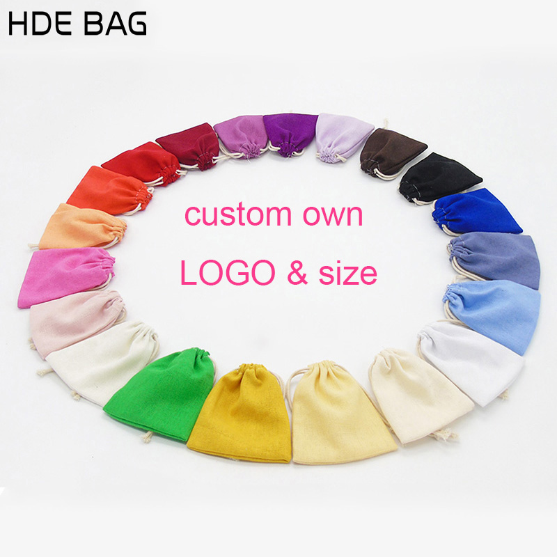 Linen Bag For Packaging Jewelry/Makeup/Gift/Wedding/Party/Bead/Candy Bags Colorful Drawstring Dust Pouch Custom Print Logo