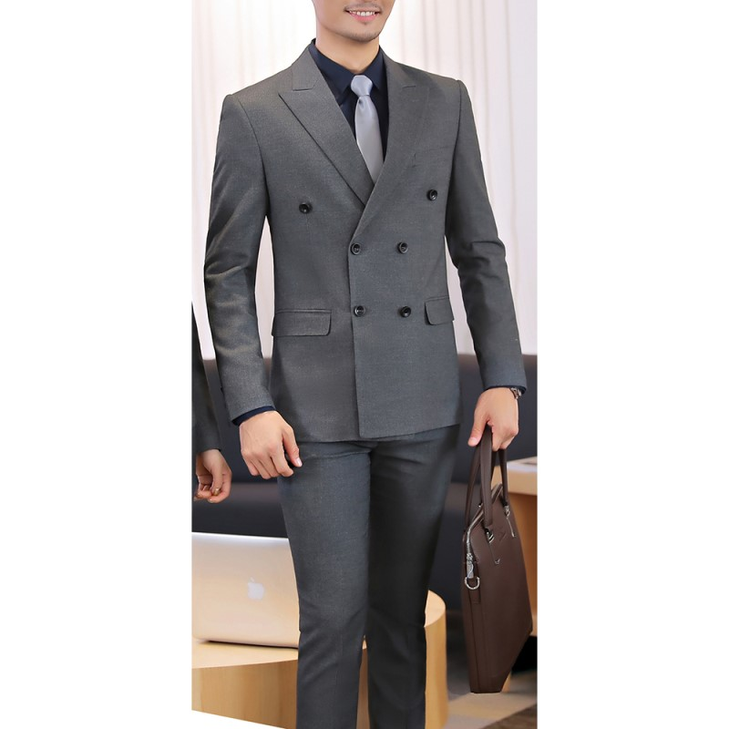 2 Pieces Double Breasted Mens Suit Office Suit Business Wear Solid Gray Navy/Black/Grey (Jacket + Pants) Wedding Blazer