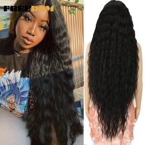 Свободные синтетические кружевные передние парики, 40 дюймов, очень длинные, глубокая естественная волна, Омбре, блонд 613 цветов, парики для ч...