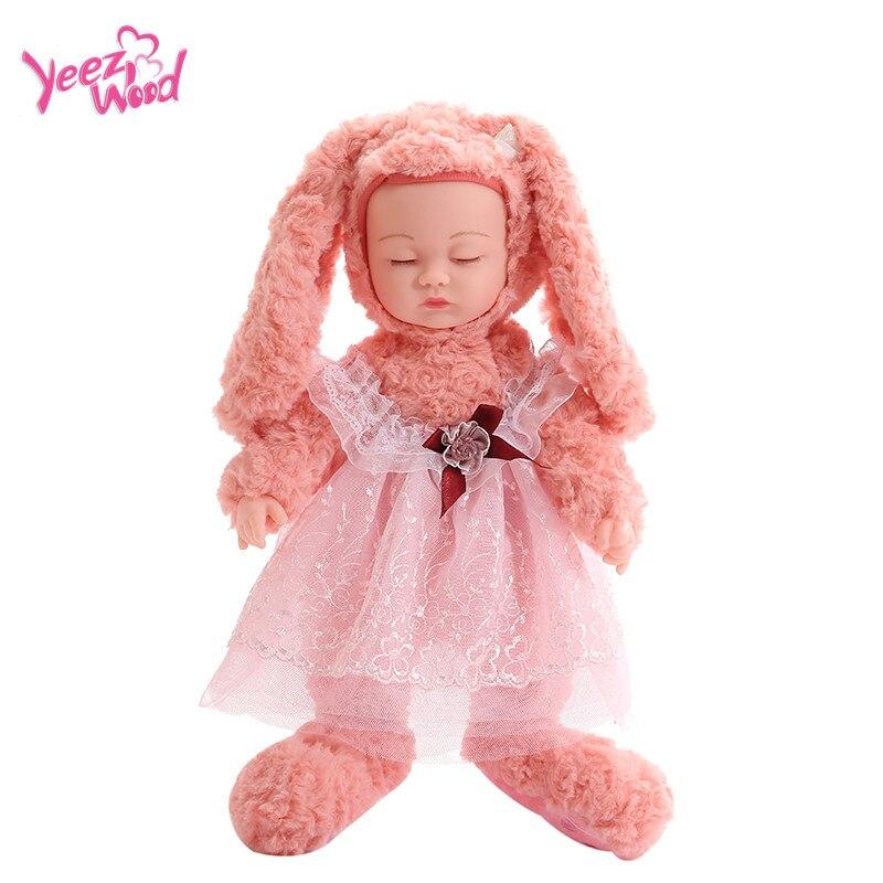 stuffed animal plush toys Baby Doll Soft Silicone Sleeping Pacify lullaby Baby Doll  Lifelike Playmate toys rabbit toys