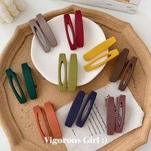 2PC Korea Macaron Color Hair Clips Acrylic Barrettes Geometric Hollow Matte Hair Clips For Girls Women Hair Accessories