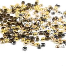 100-500 pçs/lote Bola de Ouro Prata Cobre Friso Contas Finais 1.5-4 milímetros Stopper Spacer Beads Diy Para Jóias Fazendo Descobertas Suprimentos