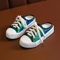 Children Biscuit Shoes New Sequins Canvas Shoe Girl Boy Shoes Kids Slippers Comfortable Casual Running Shoes Toddler Green/black