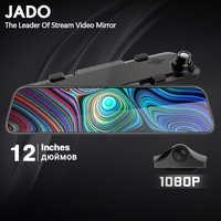 JADO 2019 G840 12 pouces Streaming rétroviseur voiture Dvr caméra Dashcam FHD double objectif 1080P conduite enregistreur vidéo caméra de tableau de bord