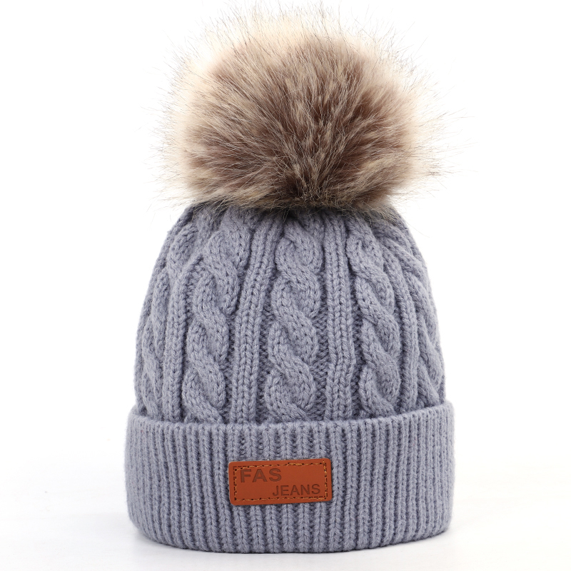 2019 new high quality winter children's pompom knit beanie Boys girls Solid color casual hat Kids warm Soft cap Baby beanies 3
