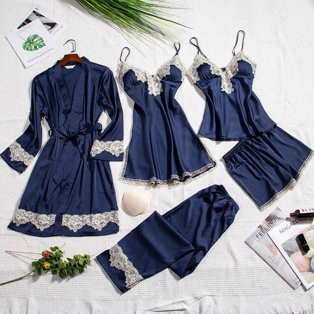 2019 משי פיג מה לנשים סתיו חורף פיג סאטן הלבשת V צוואר תחרה Nightwear 5 חתיכה סטי פיג מה רפידות חזה