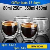 350ml resistente al calore a doppia parete tazza di vetro birra Espresso tazza di caffè Set fatto a mano acqua tè vino whisky bicchieri trasparenti