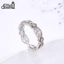 Effie Queen 925 Sterling Silver Geometric Adjustable Rings with AAAA Zircon Women Open Ring Wedding Engagement Jewelry TSR151(China)