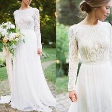Богемные Свадебные платья с длинным рукавом кружевной топ шифоновое
