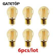 4W G45 Retro Edison bombilla de filamento E27 Bombillas 220V lámpara Vintage 6 unids/lote 2700K de vidrio de oro decoración interior