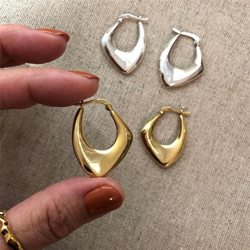 RUIYI Real 925 Sterling Silver Irregular Drop Earrings For Women Nordic Style Minimalist 18K Gold Earrings Party Female Jewelry