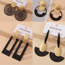 New Fashion Hanging Dangle Drop Earring 2020 Women Chic Vintage Gothic Geometric Round Long Big Black Gold Color Earrings