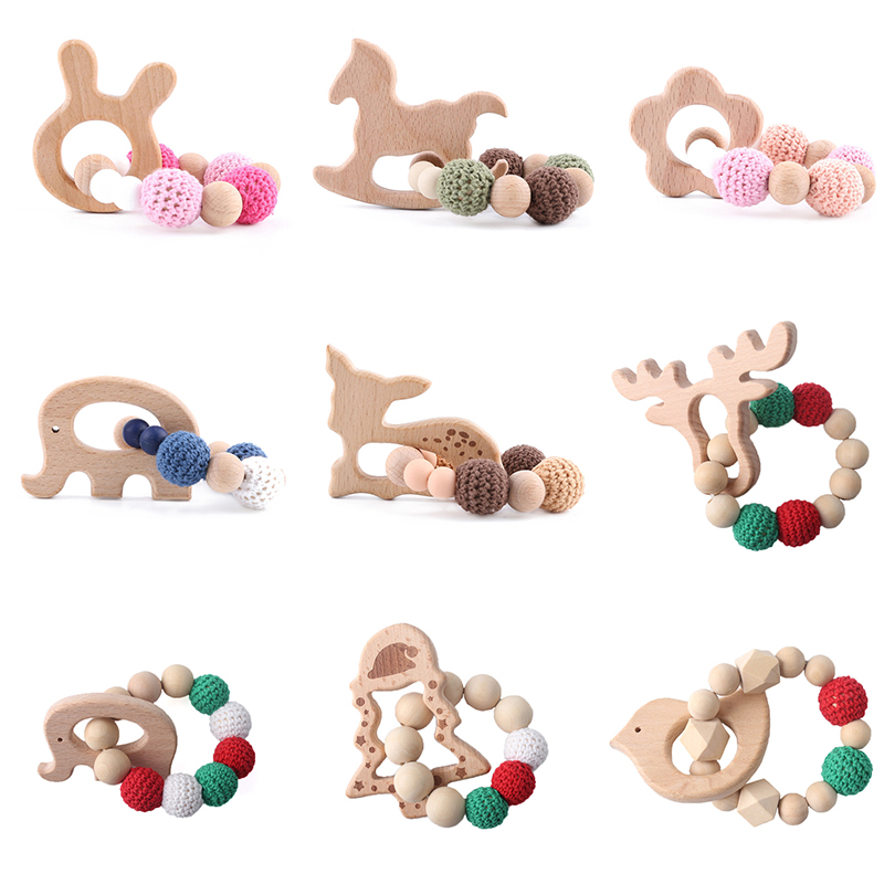 1pc Nursing Bracelet Baby Wooden Teether Animal Rattles Deer Wooden Rodent Blank Crochet Beads Children'S Goods Christmas Toys