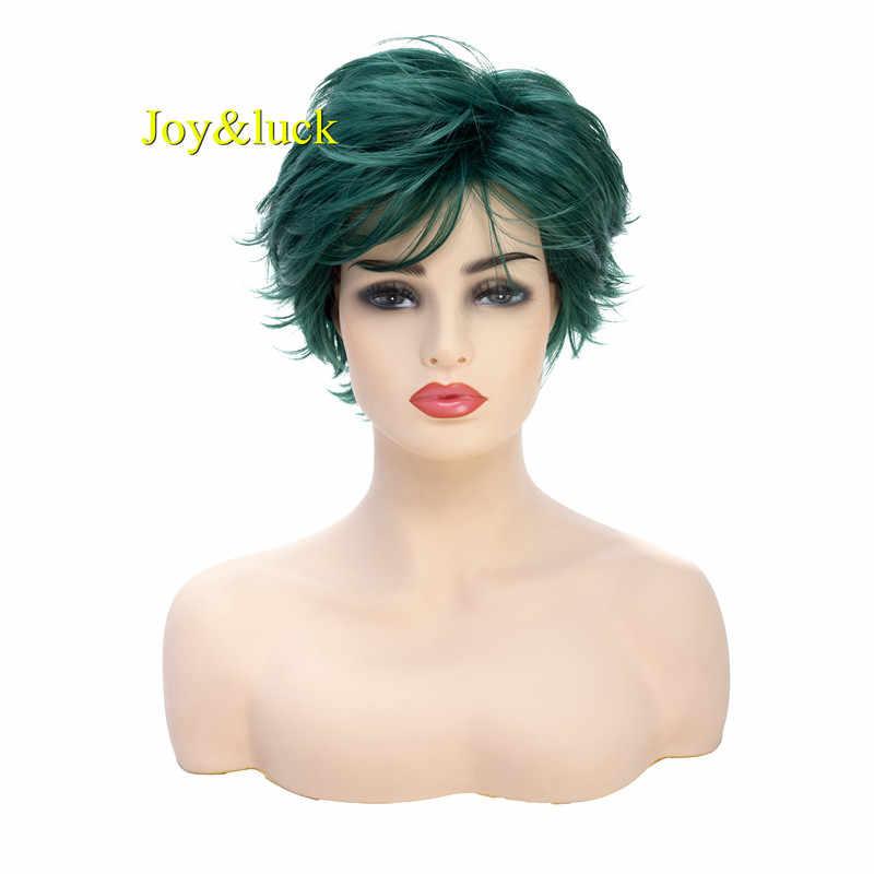 Joy & luck Short Herren Perücke Dark Grün Synthetische Perücke Männlichen Perücke Cosplay Natürliche Gerade Kostüm Flauschigen Perücke