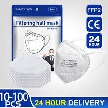 Masque facial FPP2 pour la Protection contre les Virus, lot de 10 à 100 pièces, respirateur anti-poussière, Protection buccale, kn95