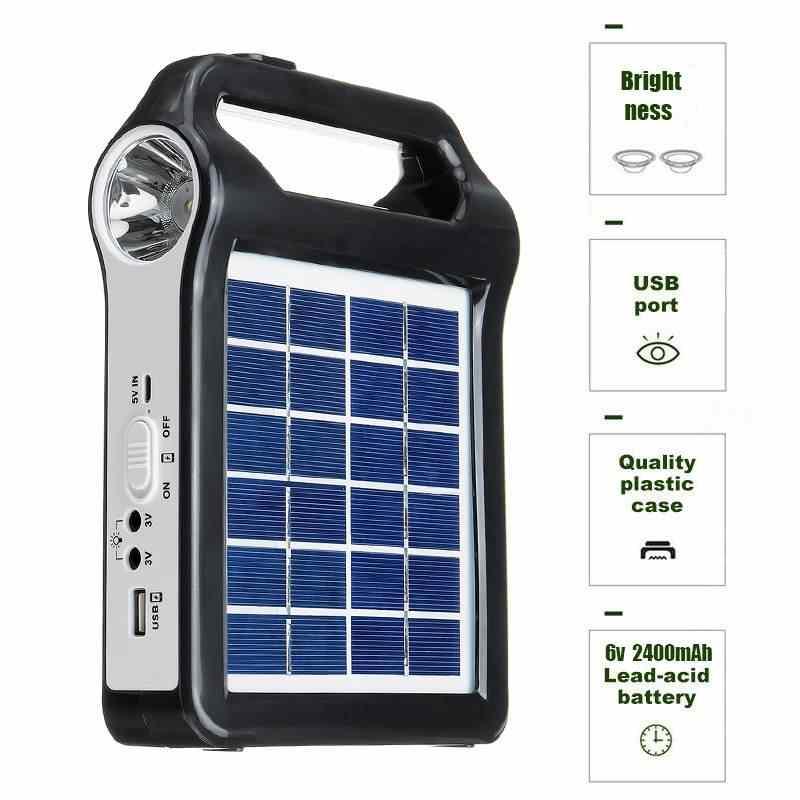 Cargador USB 6V Panel Solar generador de energía sistema casero Kit recargable 9W Sistema de generador Solar portátil