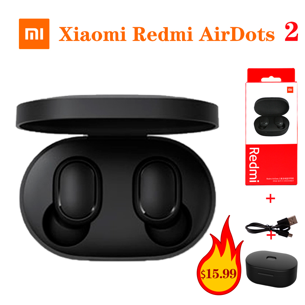 Xiaomi Redmi AirDots 2 Wireless Bluetooth 5 0 TWS Earphone Wireless Gift Silicone Protective Cover Cases Charging Cable