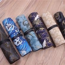 Oriental janpan estilo chinês lápis envoltório bolsa de algodão rolo up caneta organizador caso bolsa de viagem para artistas estudante