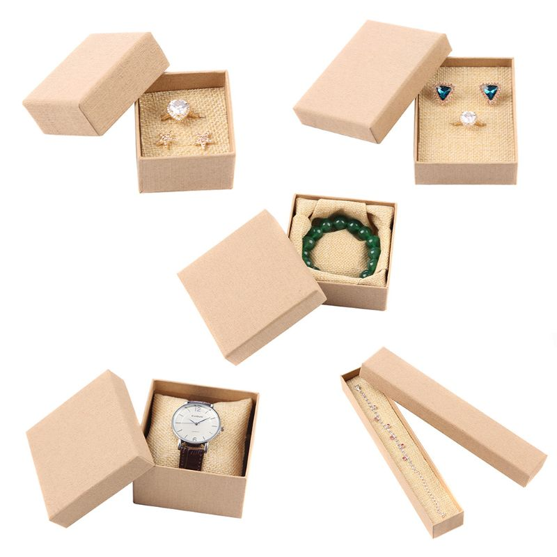 Natural Kraft Brown Jewellery Boxes Watch / Necklace / Bracelet / Ring Holder