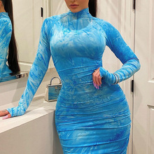 2020 Spring  Long Sleeve Tie Dye Ruched Bodycon Sexy Midi Dress Women Streetwear Outfits Party Bright Clothing