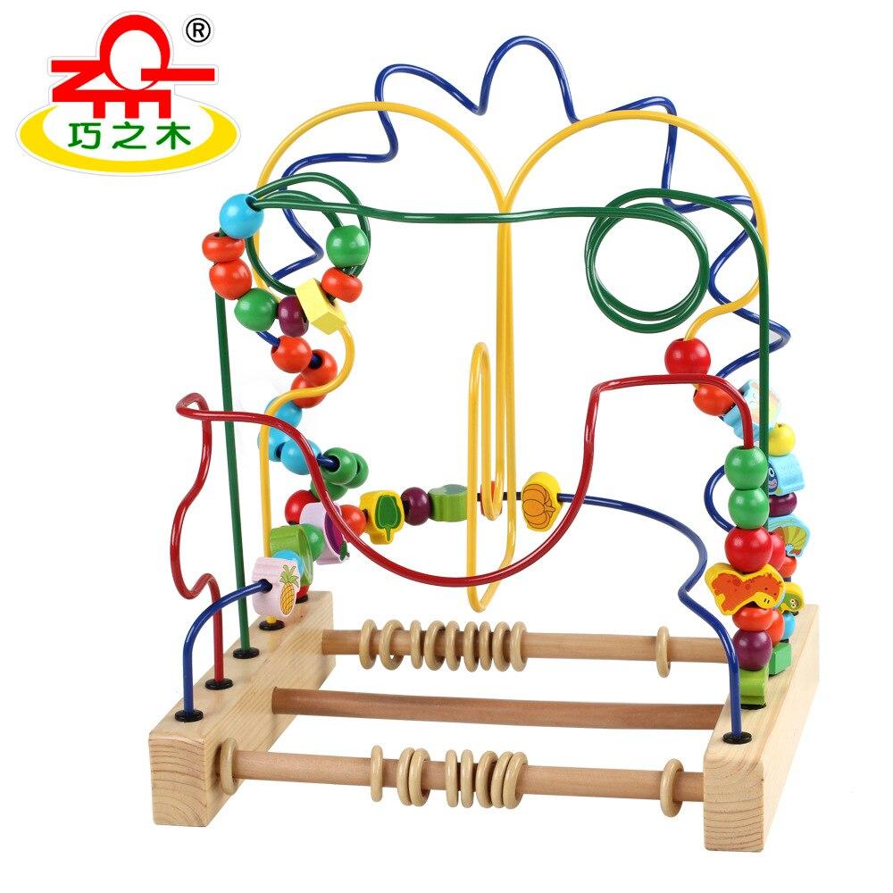 QZM connaissance en bois grand jouet à cordes de perles multi-fonctionnel Fruit Animal Bracelet perlé Intelligence éducative pour enfants