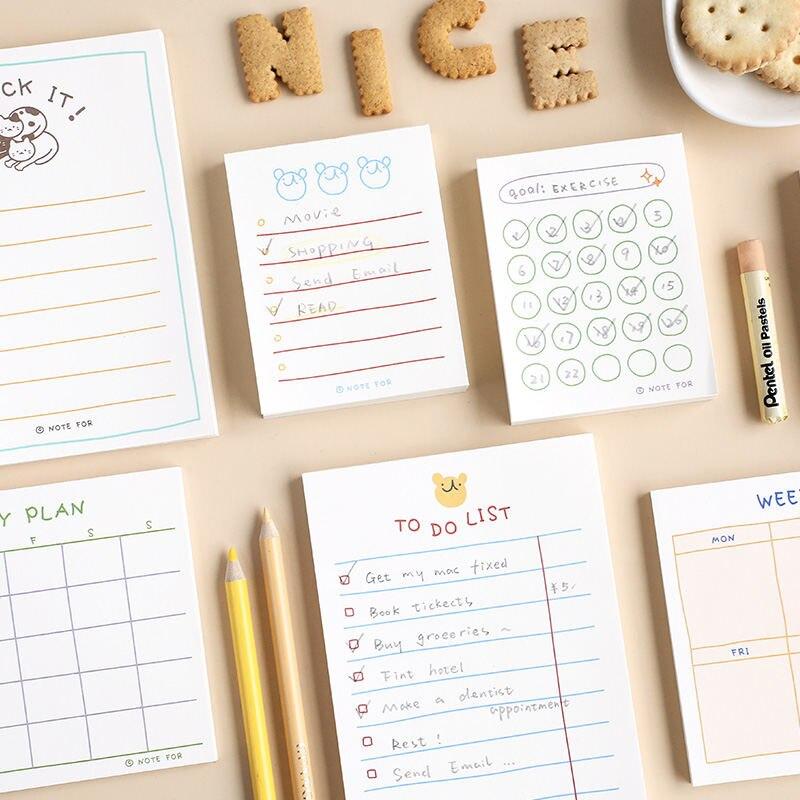 Jianwu 100 folhas/50 folhas bonito plano série bloco de memorando kawaii para fazer lista plano semanal diário papelaria escola material de escritório
