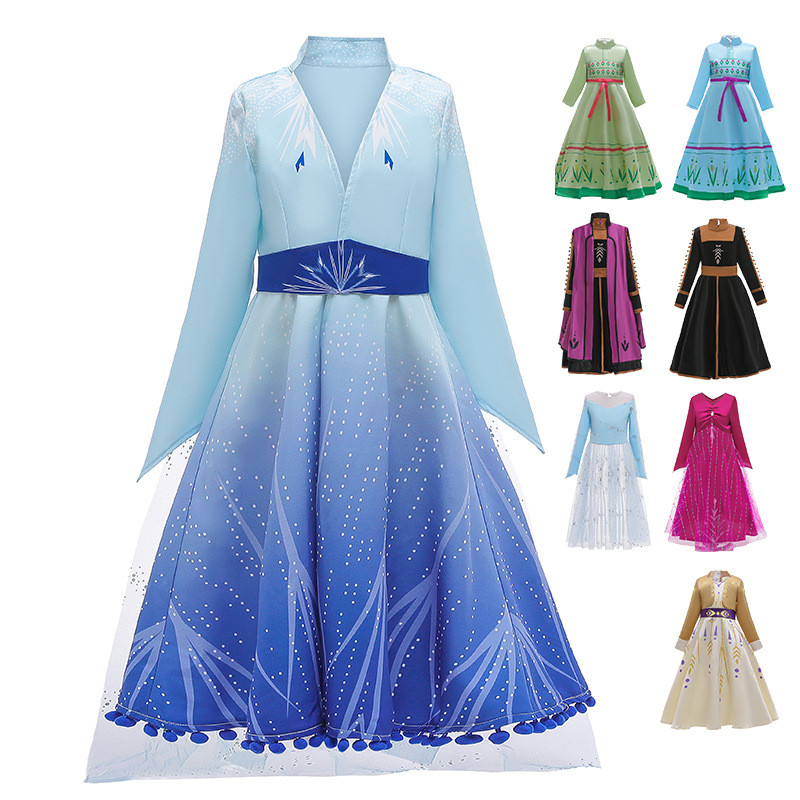 Frozen 2 Jurk Cosplay Costume Elsa 2 Dress Princess Anna Dress Girls Party Dress Fantasia Vestidos