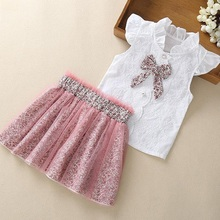 New Girls Clothing Set Summer Petal Sleeve Sweet Bow T-shirt Top Leopard Net Gauze Dress 2-Piece Baby Clothing Set zofz newborn baby clothing cotton baby girls short sleeve set three piece princess dress set with bow hair band and underpants