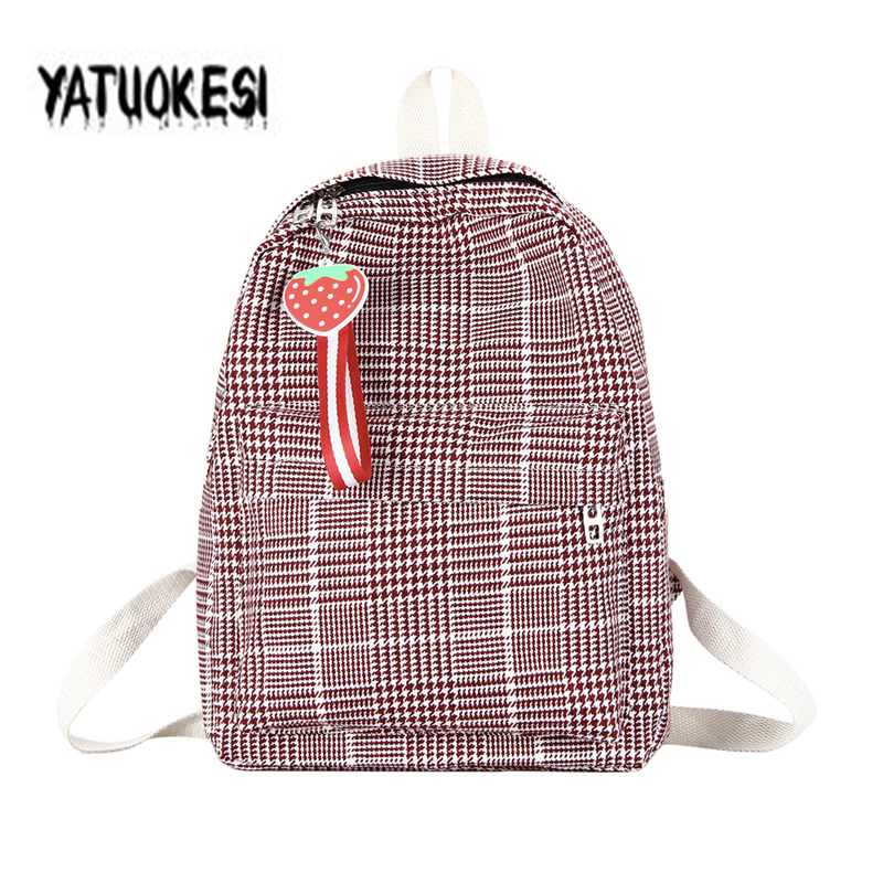 2020 Women's Canvas  Harajuku Backpack For Women Schoolbags Laptop Travel Bag Pendant Strawberry  Mochilas Escolares Para Bolsos