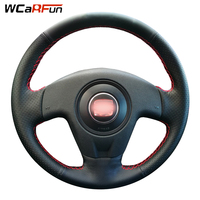 WCaRFun Hand-stitched Black Artificial Leather Car Steering Wheel Cover for Seat Ibiza 2004 2006