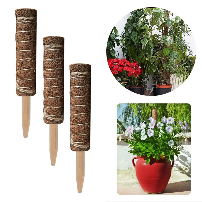 1/2/4PCS Coir Moss Totem Pole Coir Moss Stick For Creepers Plant Support Extension Climbing Indoor Plants 30/40/45/60cm
