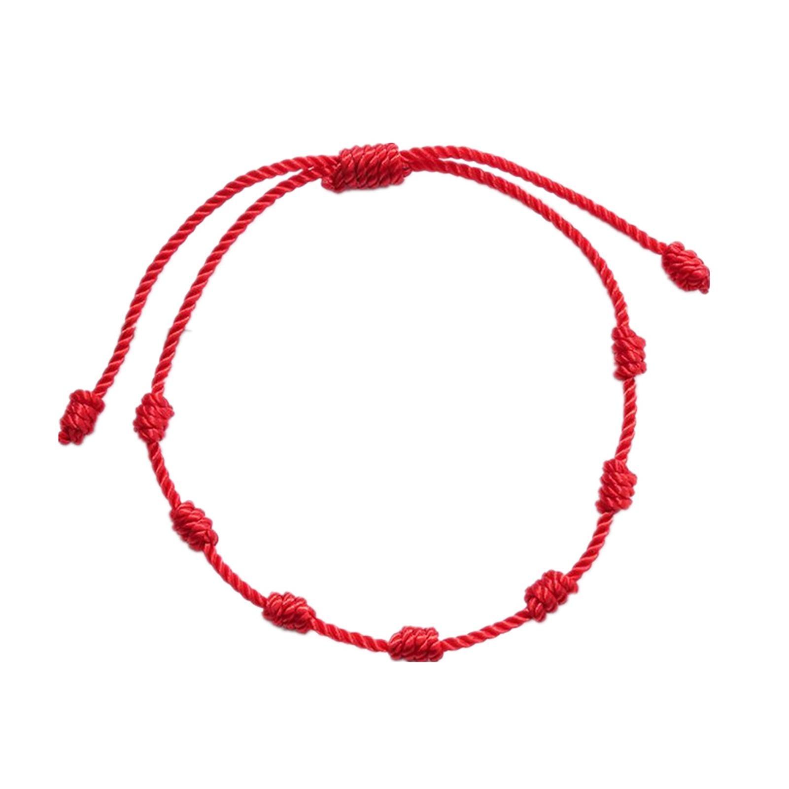 Браслеты на удачу «сглаза и хороший», 2 шт., красные веревочные браслеты с 7 узлами, защитный веревочный амулет, новогодний подарок, браслеты ...