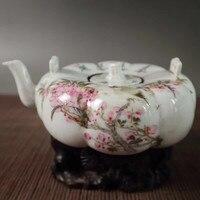 Jingdezhen Porcelain Light Crimson Color Flowers Birds Magpie Branches Pattern Pumpkin Pot Wine Pot Teapot Water Pot Decoration
