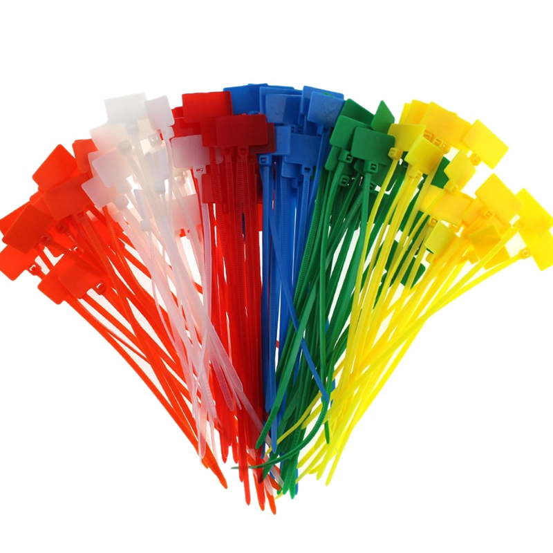 """300 pcs Pack 4/"""" White Marker Zip Nylon Cable Ties Label Cord Wire Management"""