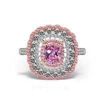 Роскошные ювелирные изделия 18kt Платина женское кольцо форма подушки розовый и белый AAA CZ цирконий Мода Вечерние подарок женское кольцо