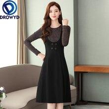 Женское платье средней длины повседневное винтажное с длинным