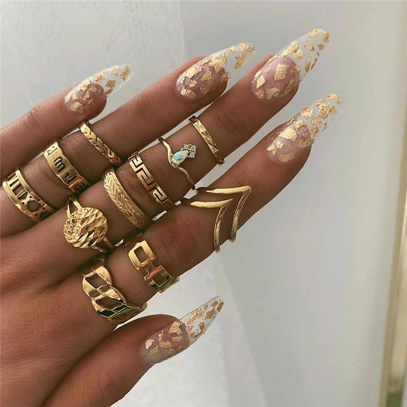 VAGZEB 11 Pcs/set Women Fashion Rings Set Gold Color Hollow Geometric Opal Ring for Woman Wedding Jewelry